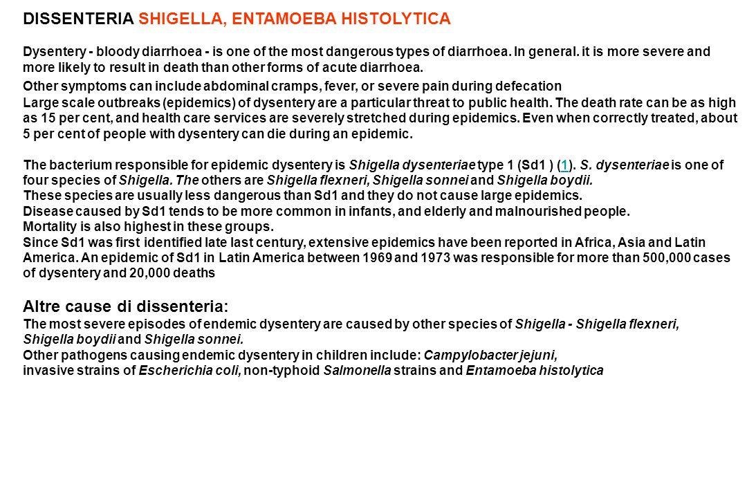 DISSENTERIA SHIGELLA, ENTAMOEBA HISTOLYTICA
