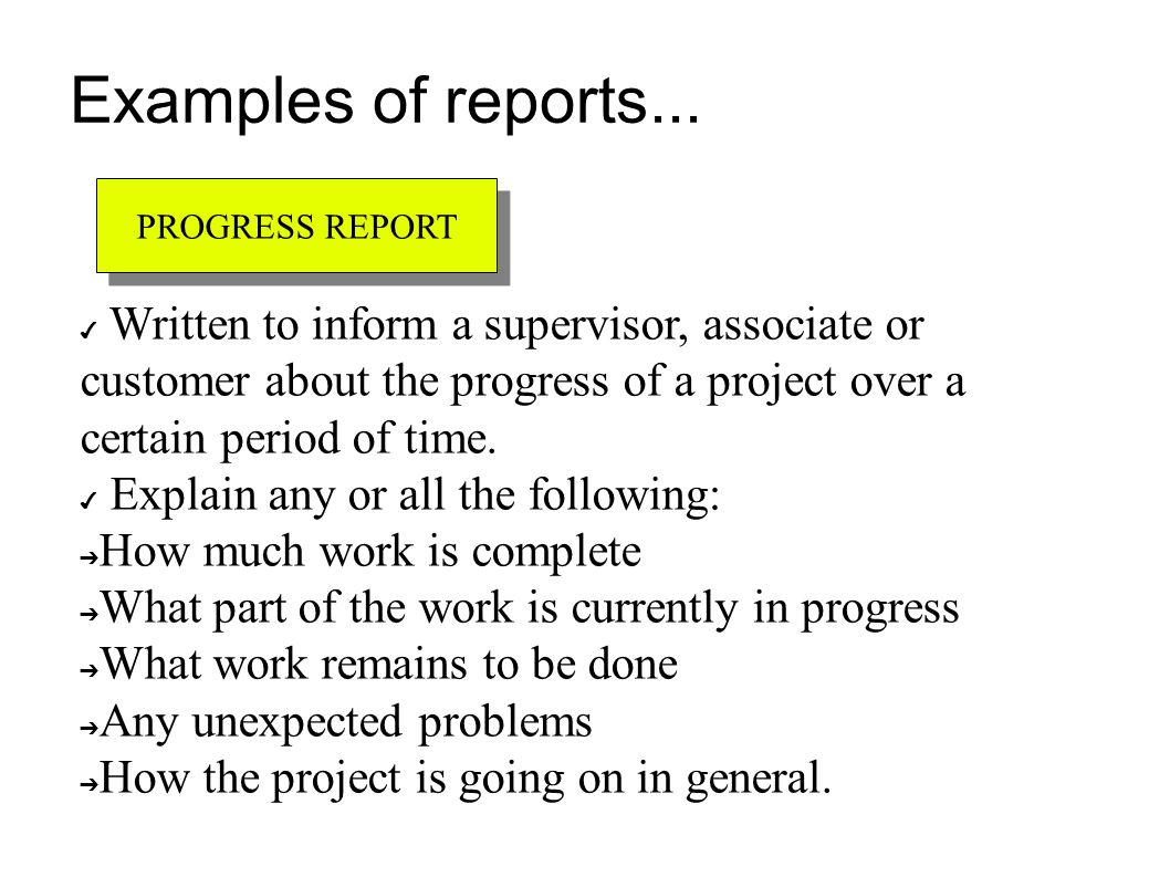 formal and informal reports