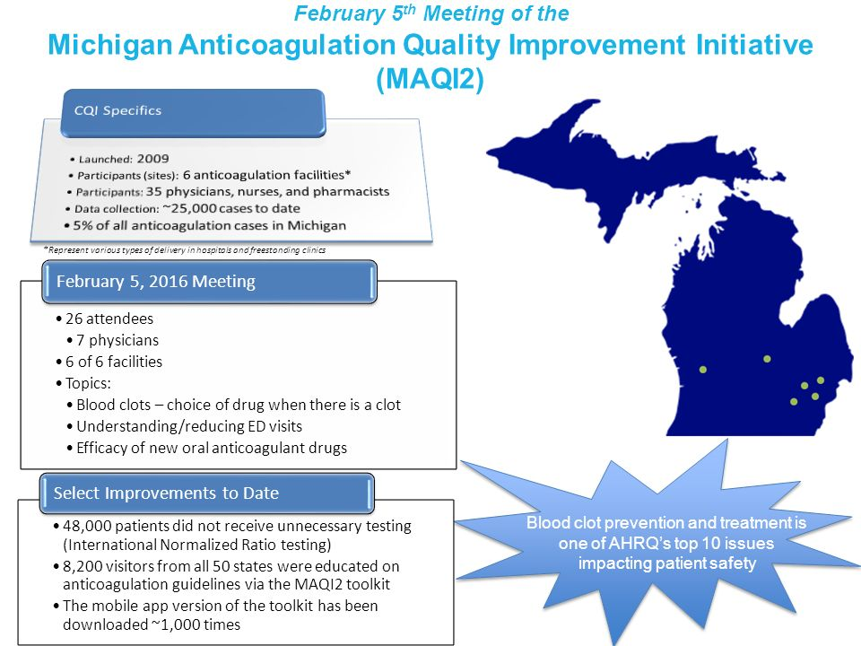 February 5th Meeting of the Michigan Anticoagulation Quality Improvement Initiative (MAQI2)