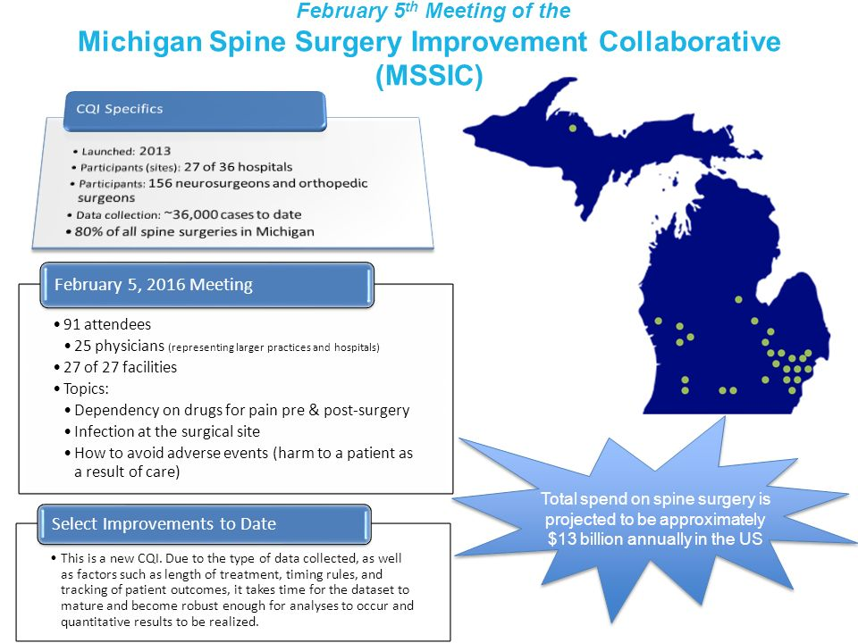 February 5th Meeting of the Michigan Spine Surgery Improvement Collaborative (MSSIC)