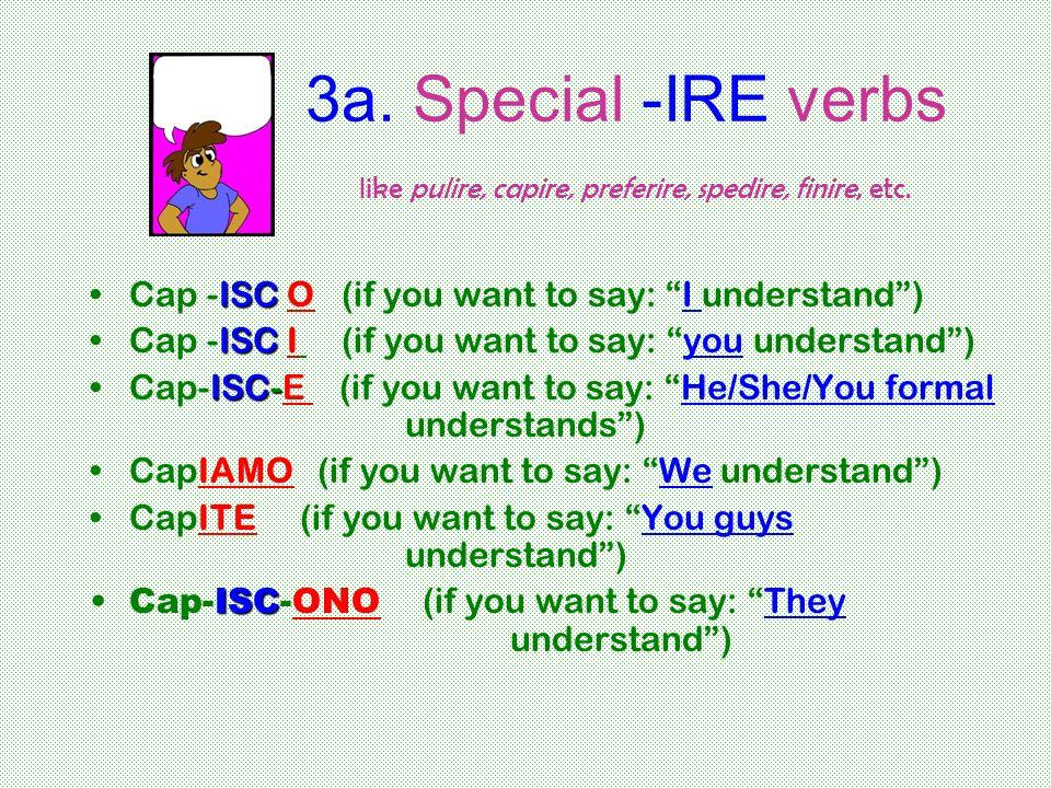 3a. Special -IRE verbs like pulire, capire, preferire, spedire, finire, etc.