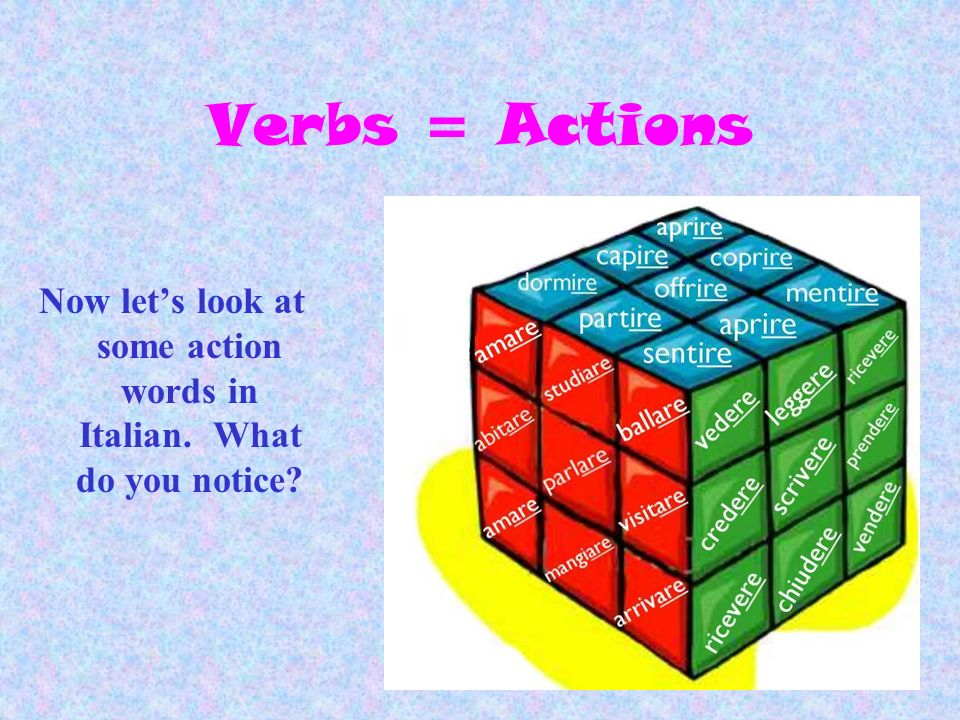 Now let's look at some action words in Italian. What do you notice