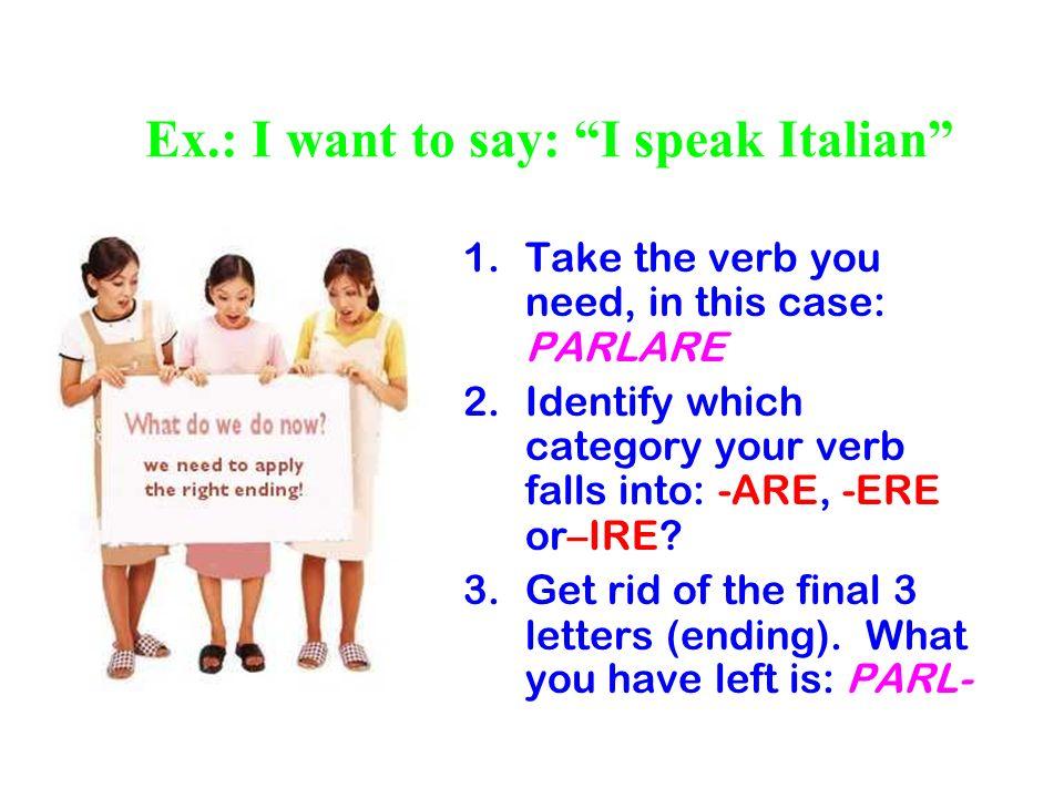 Ex.: I want to say: I speak Italian