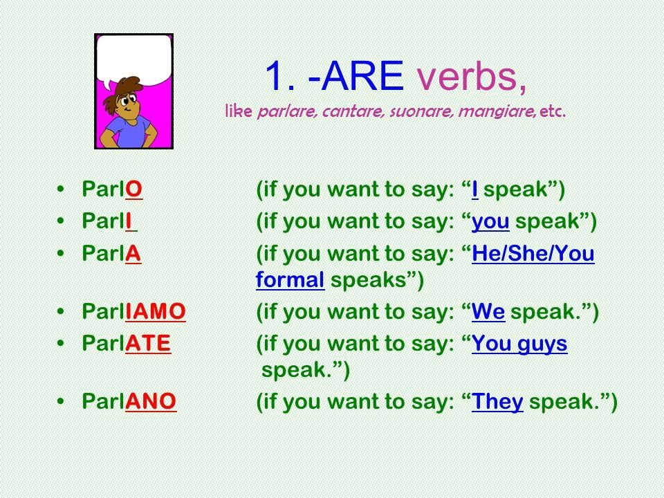 1. -ARE verbs, like parlare, cantare, suonare, mangiare, etc.