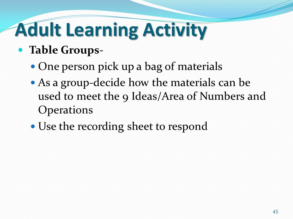 activity adult learning