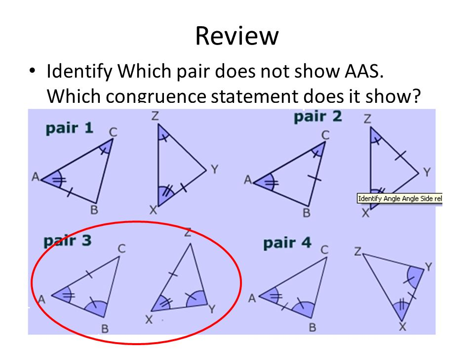 Write a congruence statement for each pair of triangles