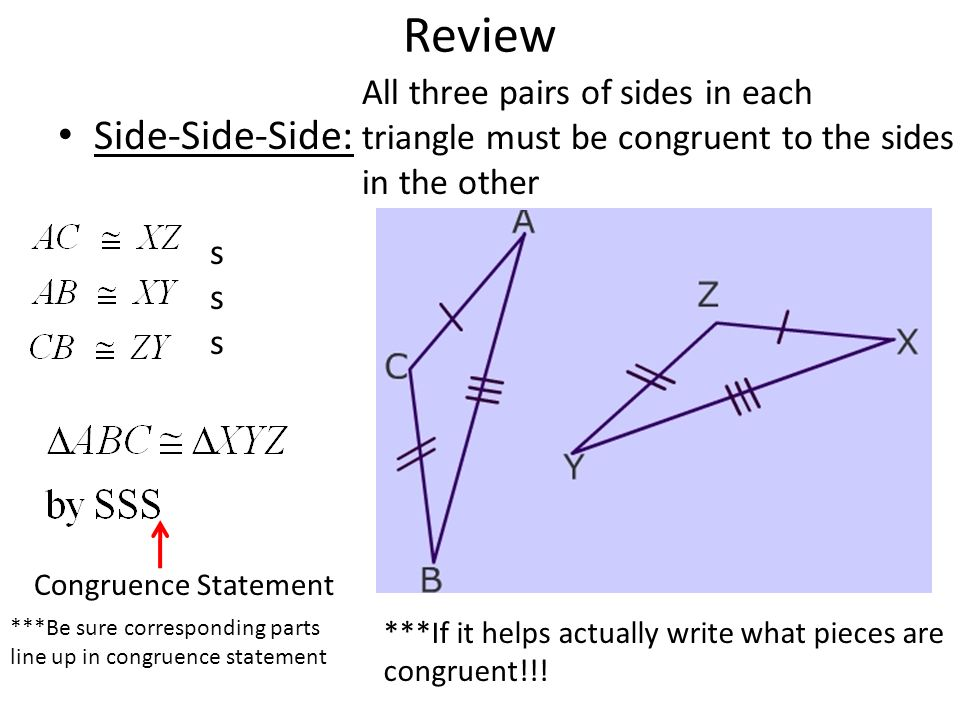 write a congruence statement for the pair of triangles can be proven