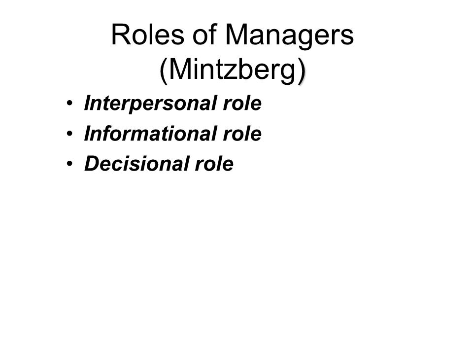 Roles of Managers (Mintzberg)