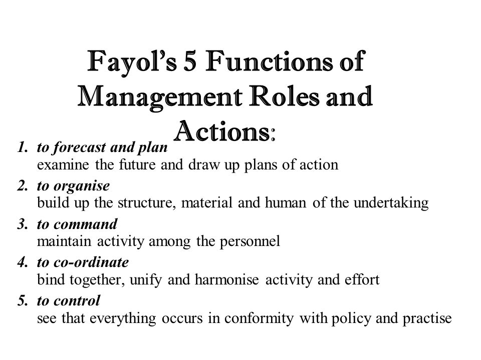 Fayol's 5 Functions of Management Roles and Actions:
