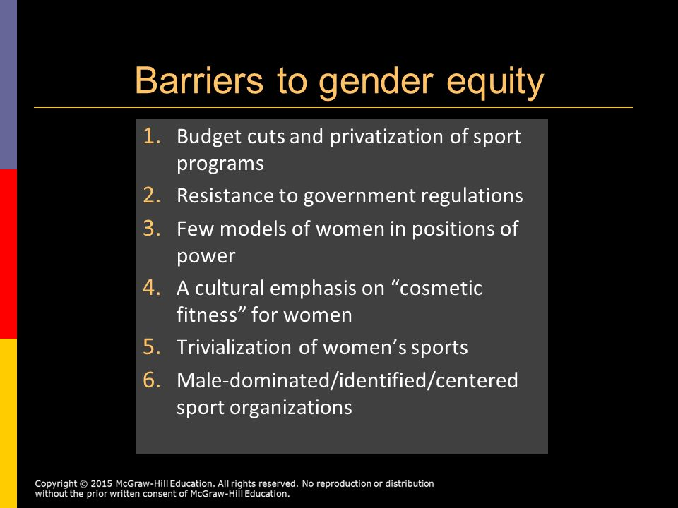 gender equity in sports Sabo, don, changing the policy dialogue around gender equity in sports, 1999 suggs, welch, uneven progress for women's sports a chronicle survey finds gains at big-time football powers, struggles at the have-nots, the chronicle of higher education , april 7, 2000.