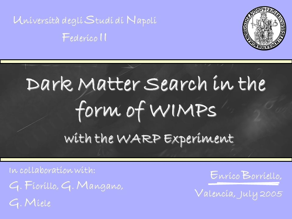 Dark Matter Search in the form of WIMPs with the WARP Experiment