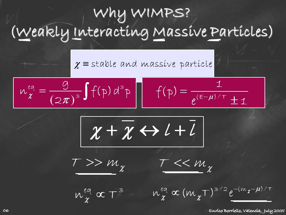 Why WIMPS (Weakly Interacting Massive Particles)