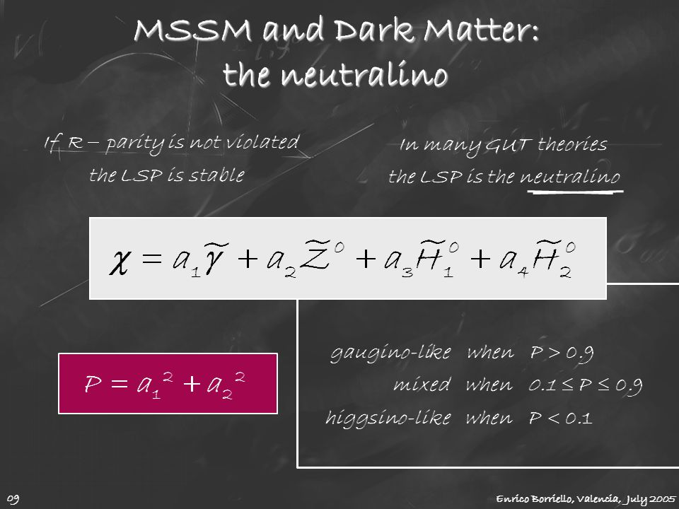 MSSM and Dark Matter: the neutralino