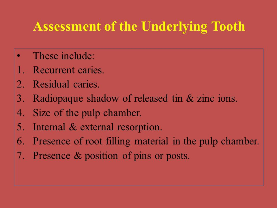 Assessment of the Underlying Tooth