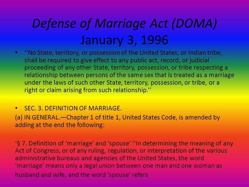 defense of marriage act essay View essay - defense of marriage act from law 202 at brandeis university lawsuits and uprisings within the public another reason the defense of marriage act should be upheld is because of.