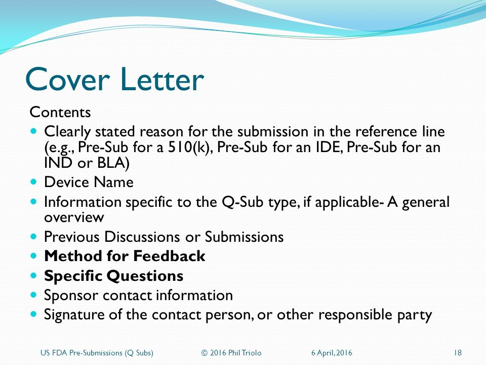 Us fda pre submissions q subs ppt download for 510 k cover letter