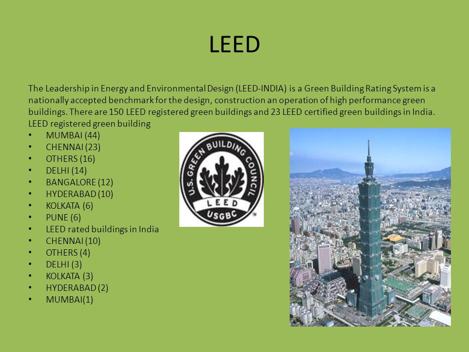 Green buildings ppt video online download for Leed for homes rating system