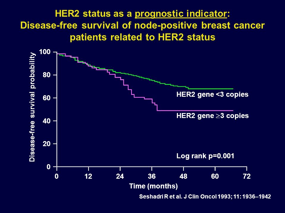 HER2 status as a prognostic indicator: Disease-free survival of node-positive breast cancer patients related to HER2 status