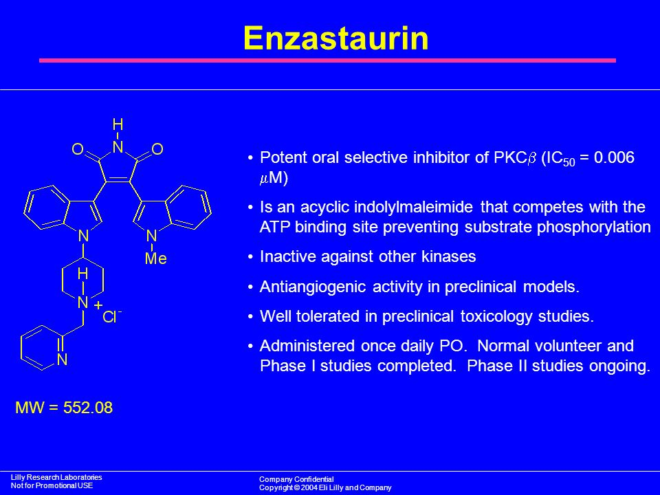 Enzastaurin Potent oral selective inhibitor of PKC (IC50 = 0.006 M)
