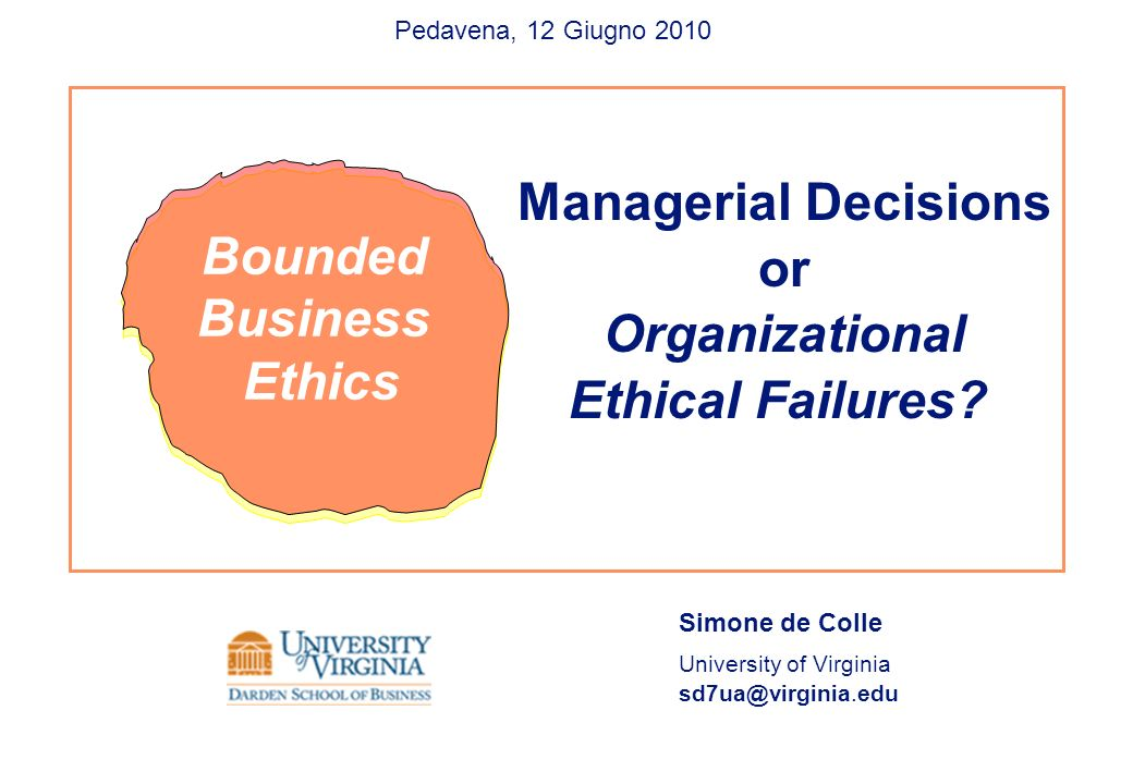 Managerial Decisions or Organizational Ethical Failures