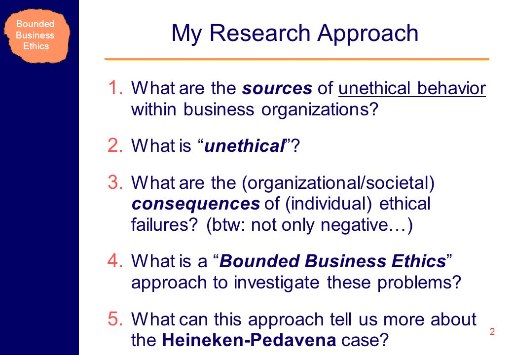 My Research Approach What are the sources of unethical behavior within business organizations What is unethical