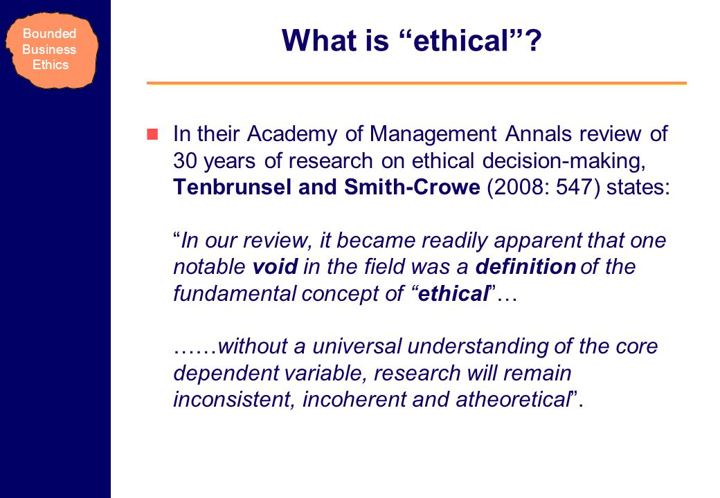 What is ethical