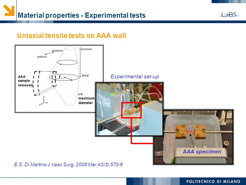 Material properties - Experimental tests