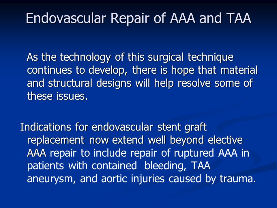 Endovascular Repair Of Aaa And Taa A Berezin Md Ph D 2