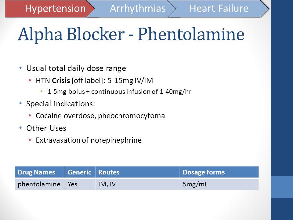 Alpha Blocker - Phentolamine