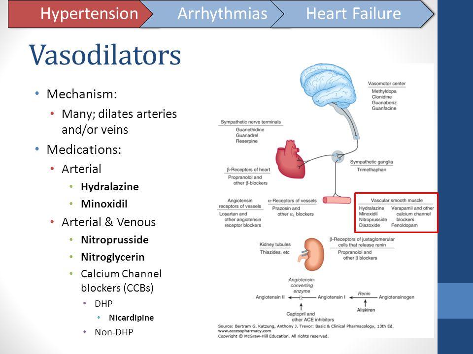 Vasodilators Hypertension Arrhythmias Heart Failure Mechanism: