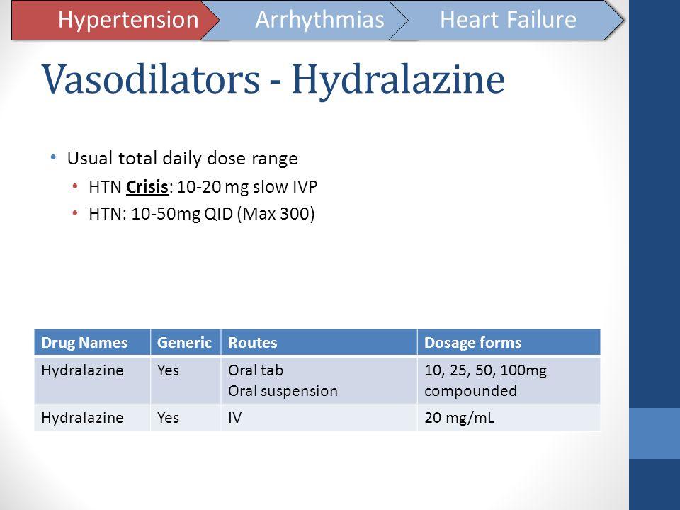 Vasodilators - Hydralazine