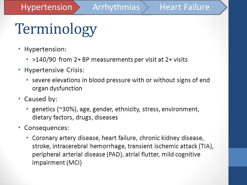 Terminology Hypertension Arrhythmias Heart Failure Hypertension: