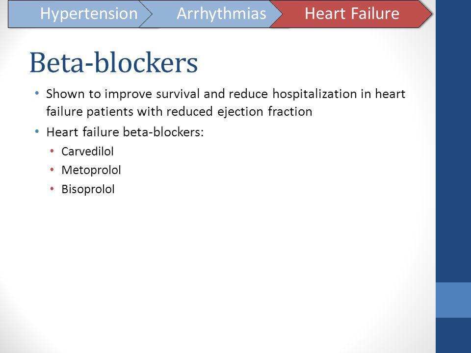 Beta-blockers Hypertension Arrhythmias Heart Failure