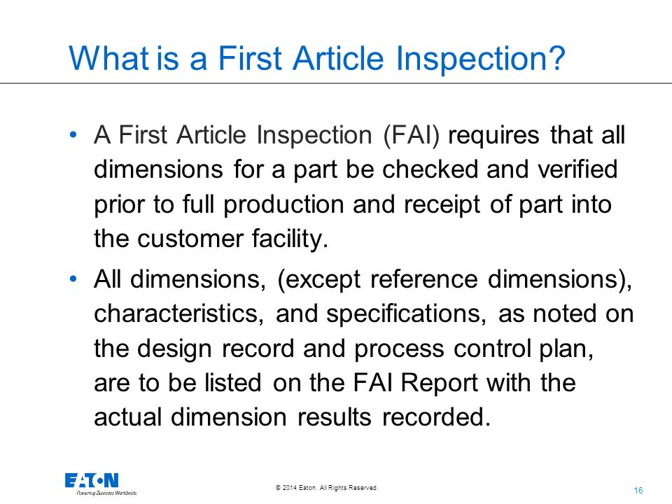 first article inspection procedure template - supplier overview training document cqd 116 rev 1 1 15