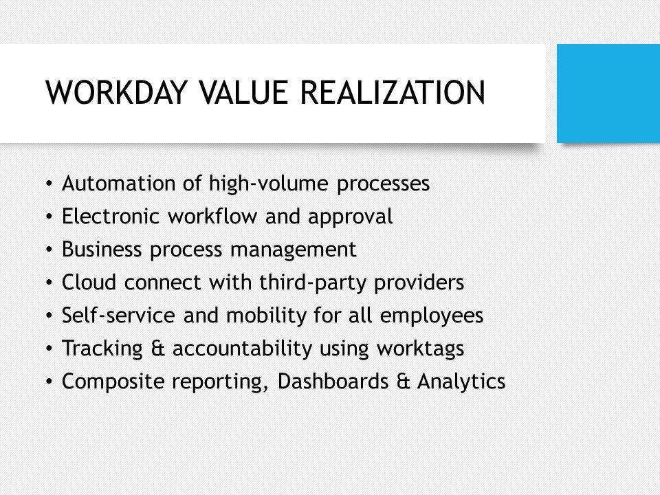 WORKDAY VALUE REALIZATION
