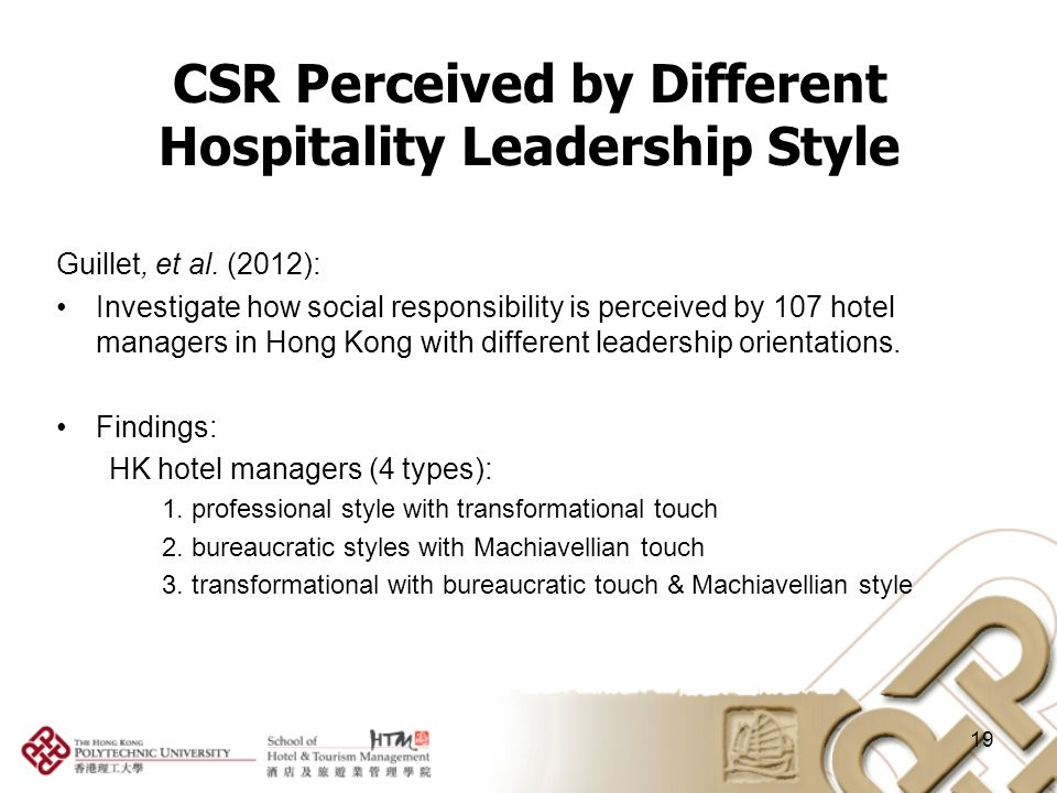csr in the hospitality industry 19072018  promotions many companies in the hospitality industry have begun to offer promotions and special deals to customers via social media channels for example.