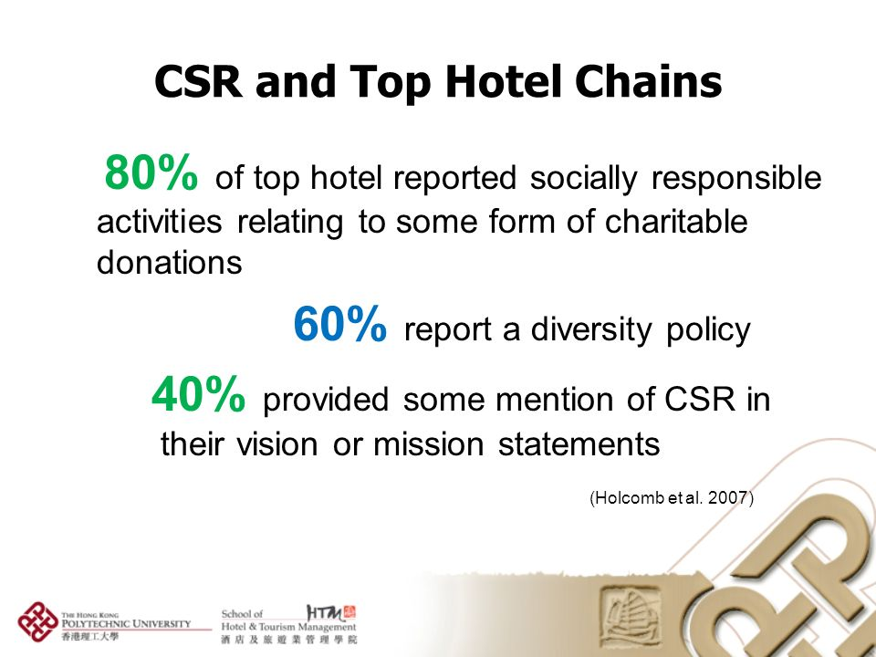 corporate social responsibility of hospitality industry tourism essay Contemporary issues in hospitality & tourism administration arlene m garrick oklahoma state university, stillwater september 29, 2009 corporate social responsibility in the hospitality industry.