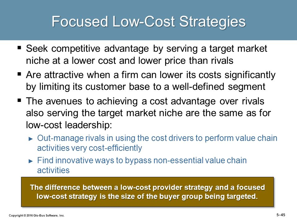 customer focused low cost leadership strategy 2015-3-20 this huge customer base includes people from  (figure 53 executing a low-cost strategy  thus a cost leadership strategy helps.
