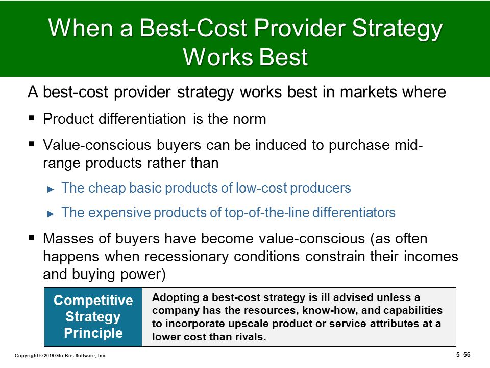 best cost provider strategy company example Being a low-cost provider is a basic business strategy it is the straightforward strategy of selling at a lower price than your competitors but even such a basic.