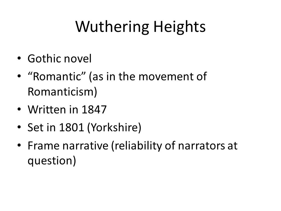 an analysis of wuthering heights a 1847 gothic novel by emily bronte The gothic novel the works of both emily  though it is an extremely original work that scandalized audiences in 1847, emily brontë's wuthering heights  inspirations for wuthering heights.