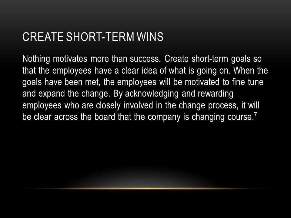 Short Term Wins : Change management a course presented by robert j ristino