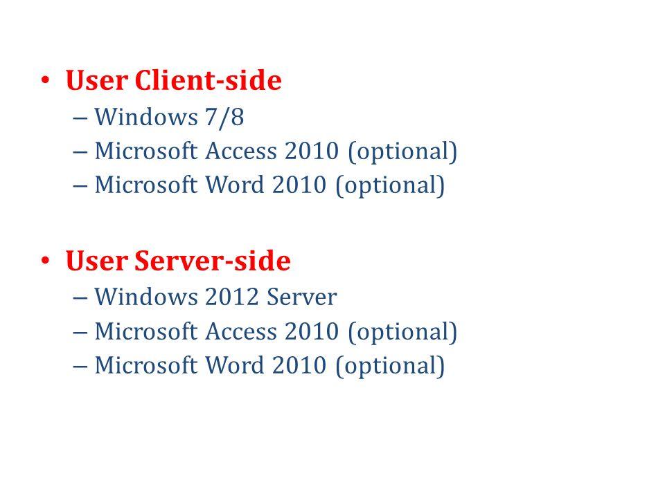 User Client-side User Server-side Windows 7/8