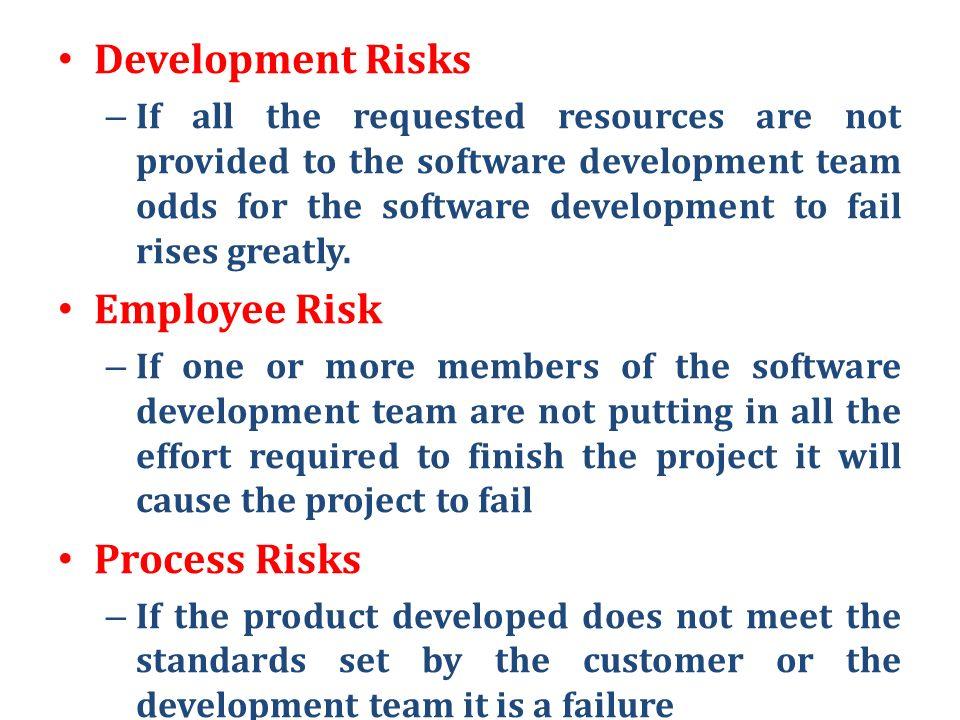 Development Risks Employee Risk Process Risks