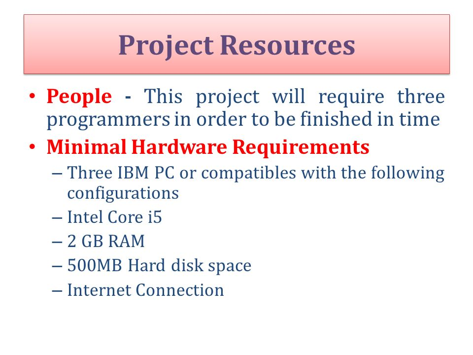 Project Resources People - This project will require three programmers in order to be finished in time.