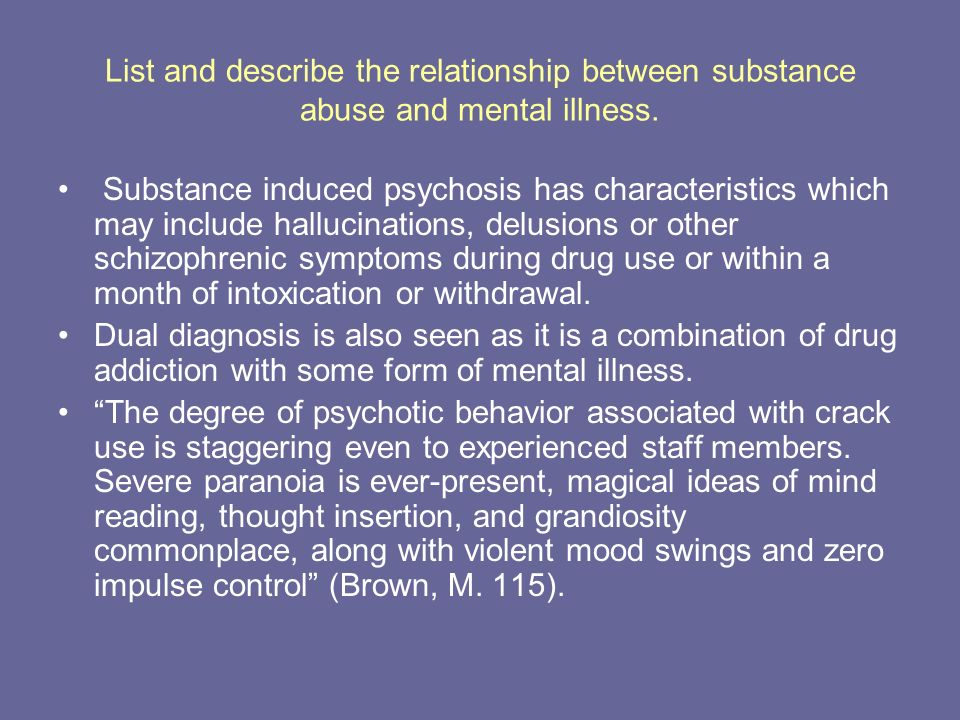 mental illness and substance abuse relationship