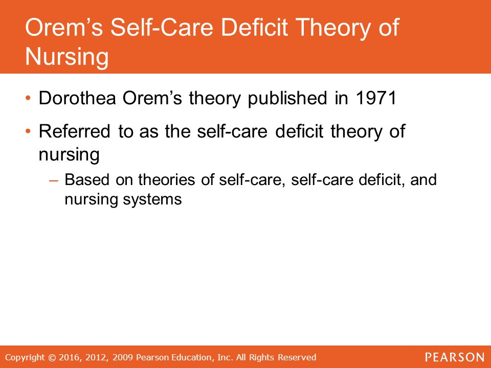 reflections on orem s theory of self care deficit Orem's self-care deficit nursing theory is widely accepted by nurses and used in clinical settings and is one of the most frequently used theories in general nursing prac- tice (timmins & horan.