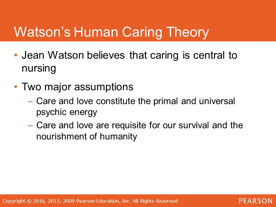 "jean watsons caring theory The history and evolution of jean watson's caring theory initially developed in 1975, the concept of the ""caring theory"" has undergone introspection and evolution while maintaining jean watson's original premise of scientific knowledge with the incorporation of humanistic application in nursing (art and science."