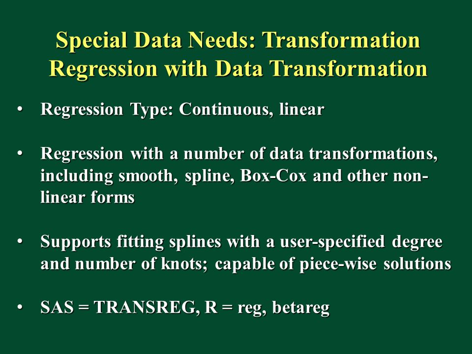Special Data Needs: Transformation Regression with Data Transformation