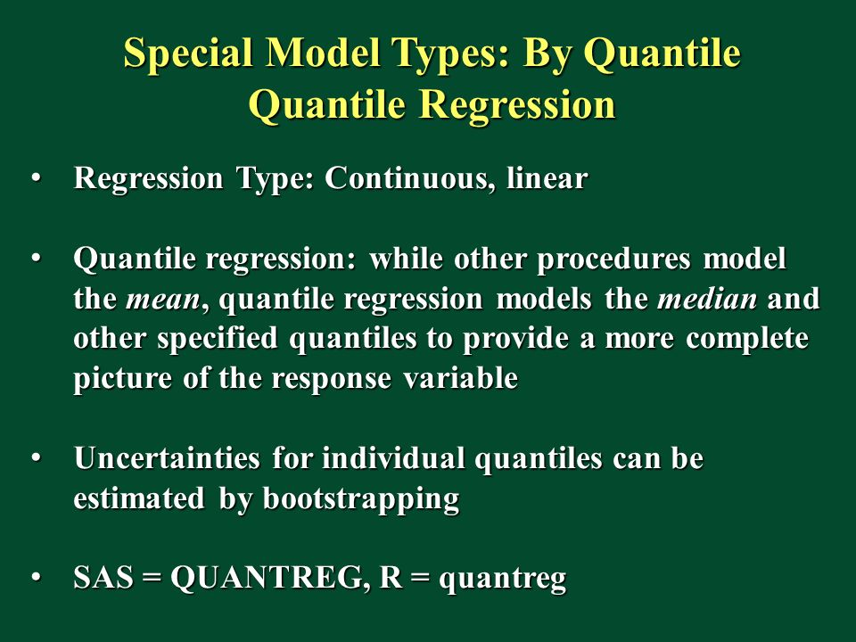 Special Model Types: By Quantile Quantile Regression