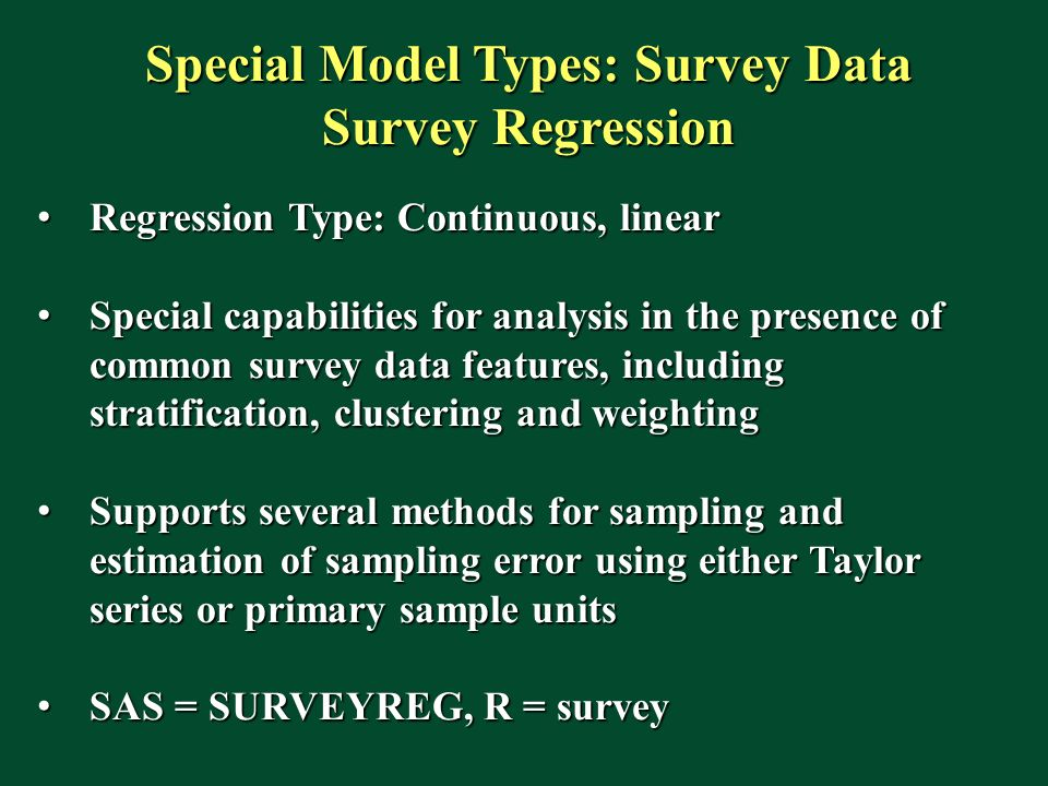 Special Model Types: Survey Data Survey Regression